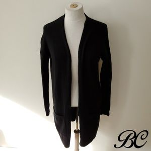 Abound Cardigan Open Front Black Long Thin Pockets